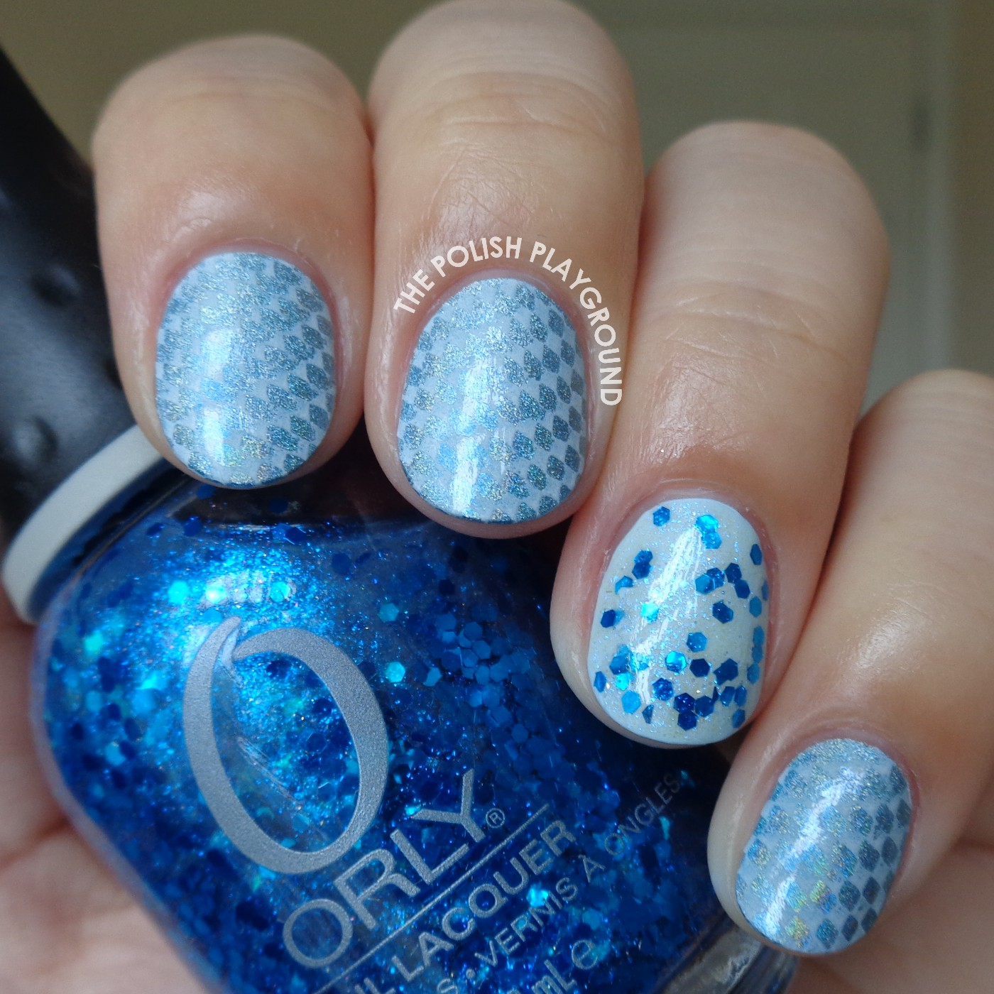 Blue Holographic and White Stamping with Bow Stud Accent Nail Art