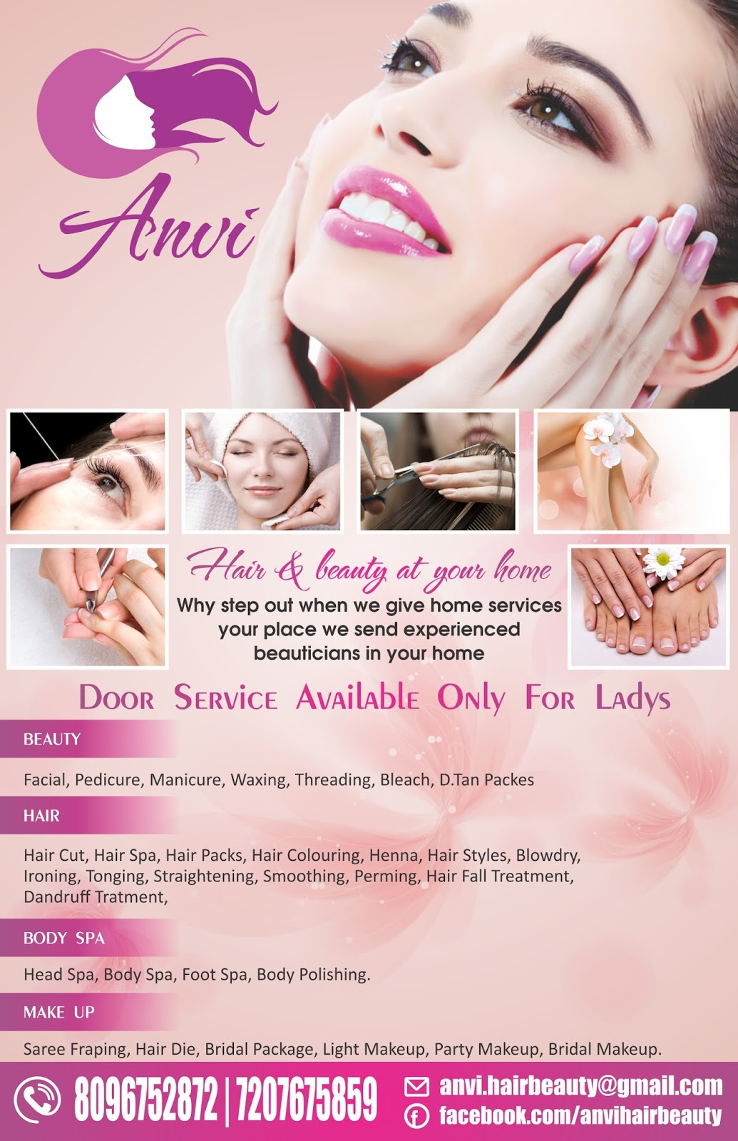 beauty parlour flyer with menu design