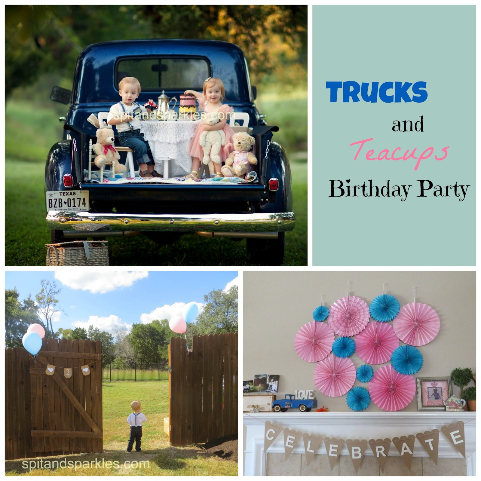 Trucks and Teacups birthday for boy/girl twins by Spit and Sparkles Blog. #birthday #twins #truckparty #teaparty #littlebluetruck #teacups