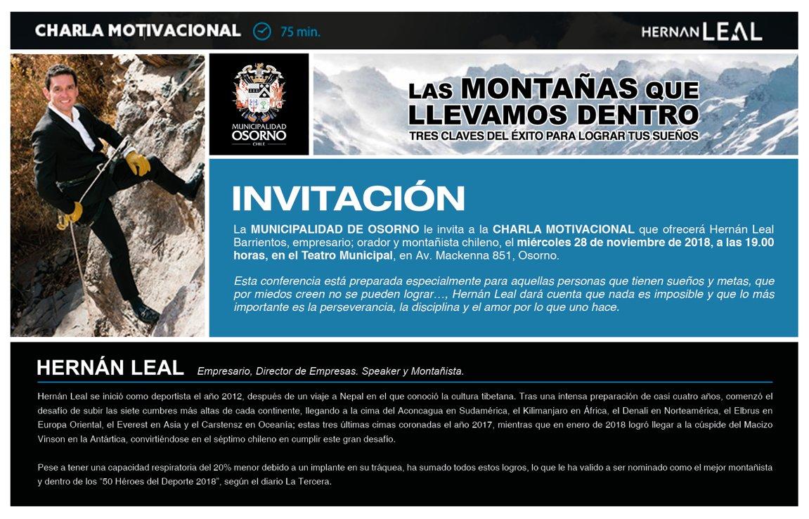 Destacado Montañista Hernán Leal Ofrecerá El Miércoles 28