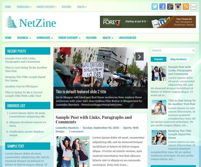 Columns Blogger Template alongside Left in addition to Right Sidebars in addition to  Free Download NetZine Blogger Template