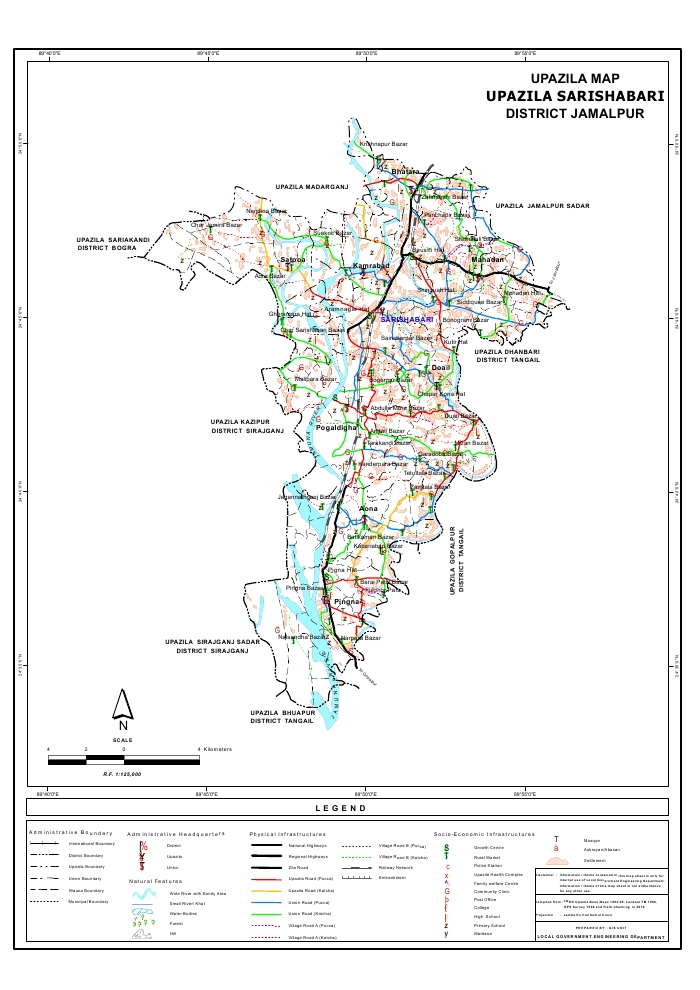 Sarishabari Upazila Map Jamalpur District Bangladesh