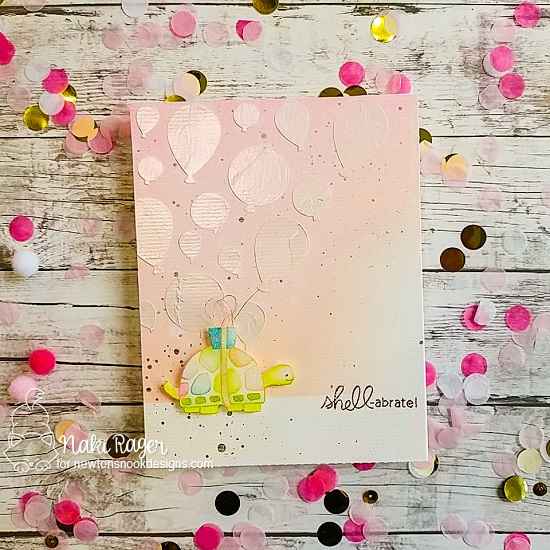 Shell-abrate Card by Nakaba Rager | In Slow Motion Stamp Set and Balloons Stencil by Newton's Nook Designs #newtonsnook #handmade