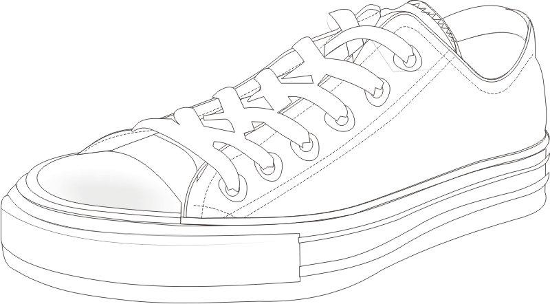 estilo diferente de tenis desenhos preto e branco para colorir