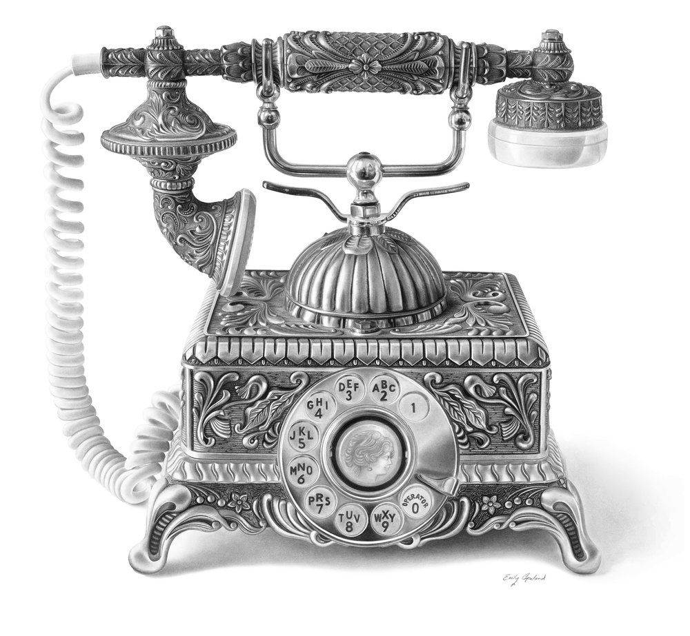 01-Antique-Phone-Emily-Copeland-Vintage-and-Retro-Objects-in-Photo-Realistic-Drawings-www-designstack-co