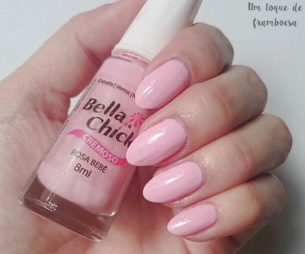 Esmalte rosa bebê da marca bella & chick