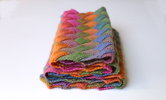 Folded Scarf Knit with Entrelac Stitch in Multicolor Wool