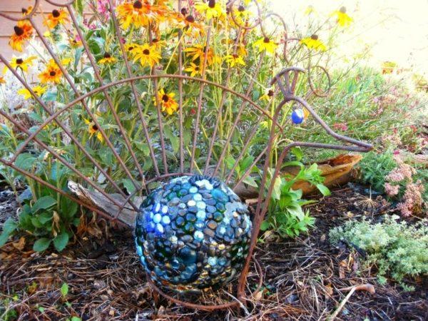 Purple Bowling Ball On A Garden Pedestal