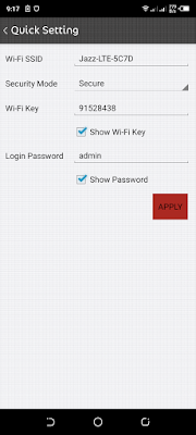 jazz wifi admin password