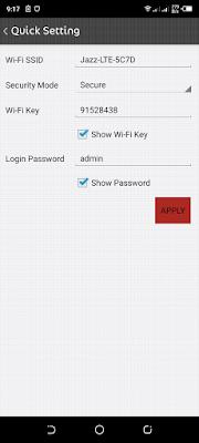 jazz wifi admin password