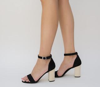 sandale elegante cu to gros piele intoarsa negre