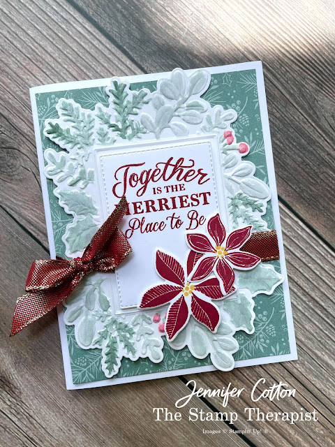 Christmas card using Stampin' Up!'s Tidings of Christmas Designer Series Papers (DSP).  The bundle is Merriest Moments from the July-December 2021 Mini Catalog (Holiday Catalog).  Merriest Frames Hybrid Embossing Folder. Select designer papers are 15% off through Aug 2, 2021.  www.StampTherapist.com #StampinUp #StampTherapist #MerriestMoments