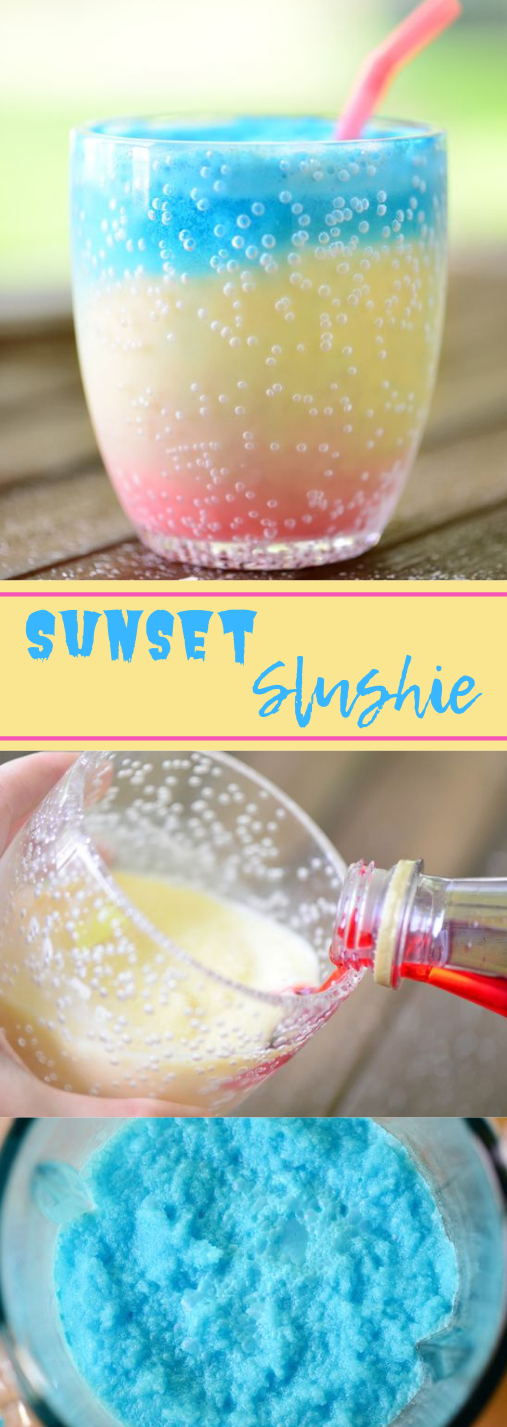 Sunset Slushie Recipe #drink #sangria #cocktail #summer #smoothie