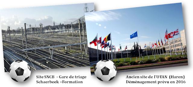 Nouveau stade national de football en vue de l'EURO 2020 - Rocambolesque feuilleton belgo-bruxellois à suivre de rebondissements en rebondissements de 2008 à 2015  -  Option site SNCB gare de triage Schaerbeek-Formation - Option ancien site de l'OTAN à Haren  - Bruxelles-Bruxellons