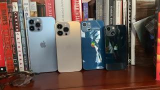 Từ bên trái là iPhone 13 Pro Max, iPhone 13 Pro, iPhone 13 và cuối cùng là iPhone 13 Mini. Ảnh: Todd Haselton / CNBC