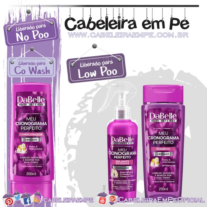 Condicionador (liberado para No Poo e co wash), Shampoo e Selante (liberados para Low Poo) Meu Cronograma Perfeito - Dabelle