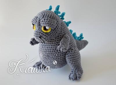Krawka: King of monsters Godzilla inspired crochet pattern by Krawka