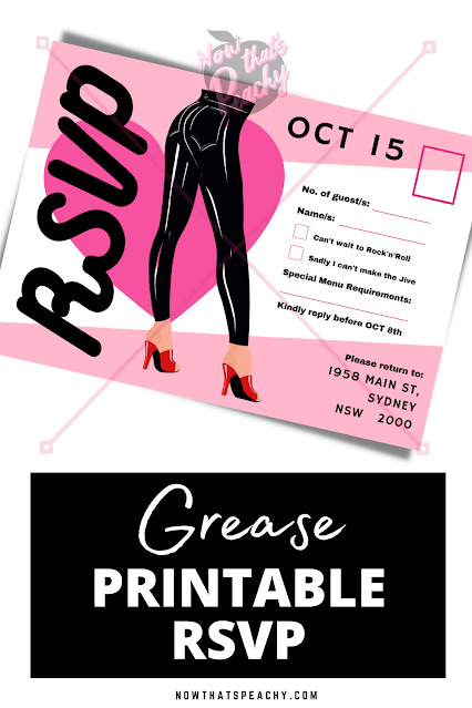 Grease RSVP invitation editable party printable