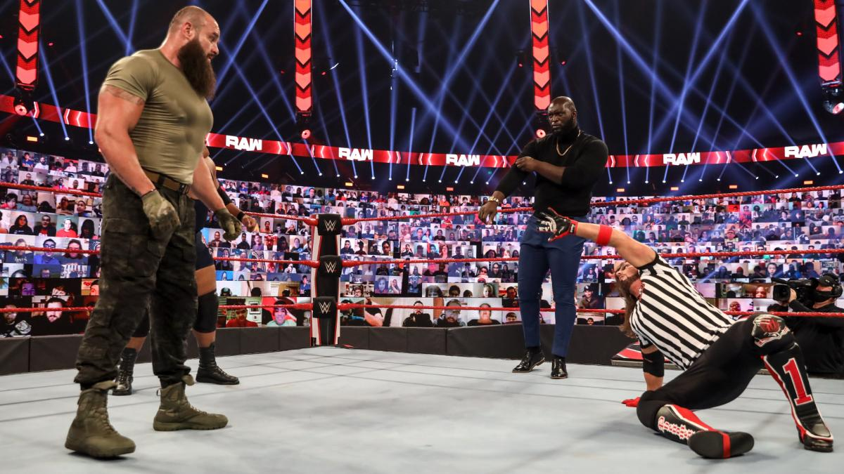 Braun Strowman, AJ Styles, and Jordan Omogbehin on WWE RAW