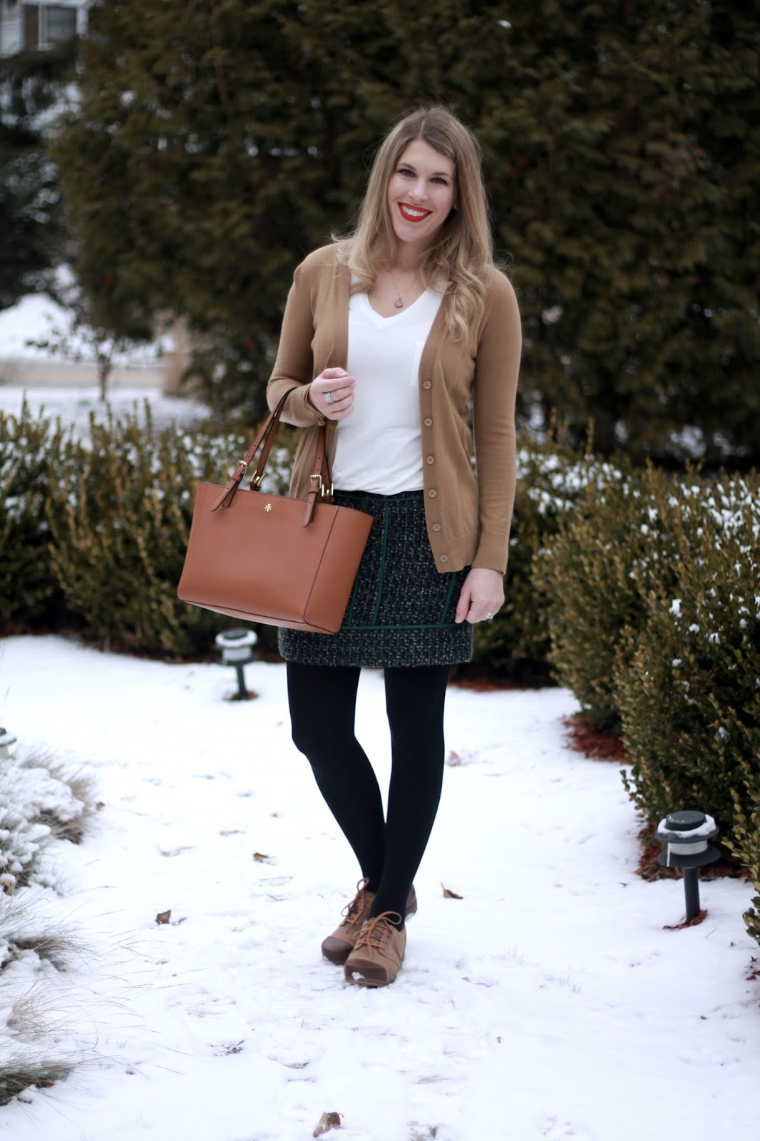 white tee, camel cardigan, green tweed skirt, 4Eursole oxfords