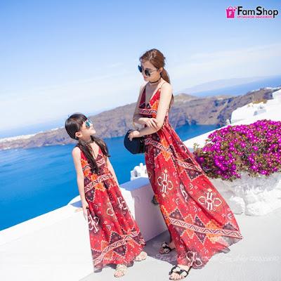 Váy maxi mẹ và bé gái M430
