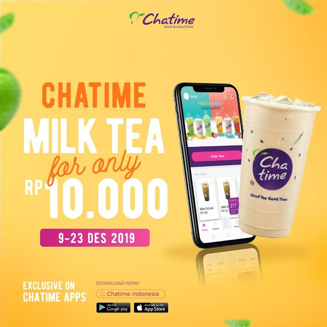#Chatime - #Promo Milk Tea Hanya 10K Via Chatime Mobile APP ( s.d 23 Des 2019)