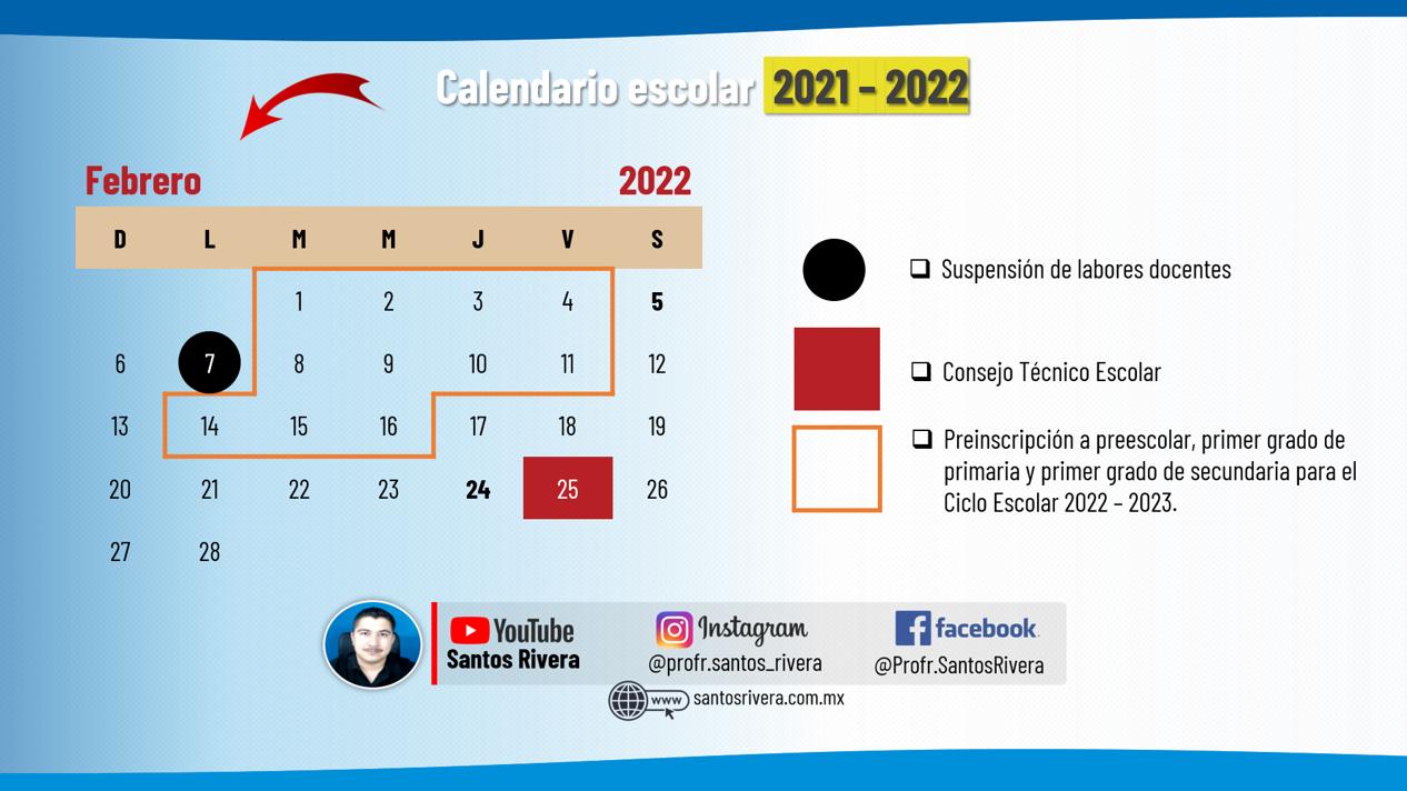 calendario escolar del mes de febrero 2021 - 2022