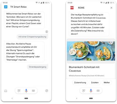 Zwei Smartphones mit Screenshots zu TK Smart Relax und REWE Rezeptempfehlungen