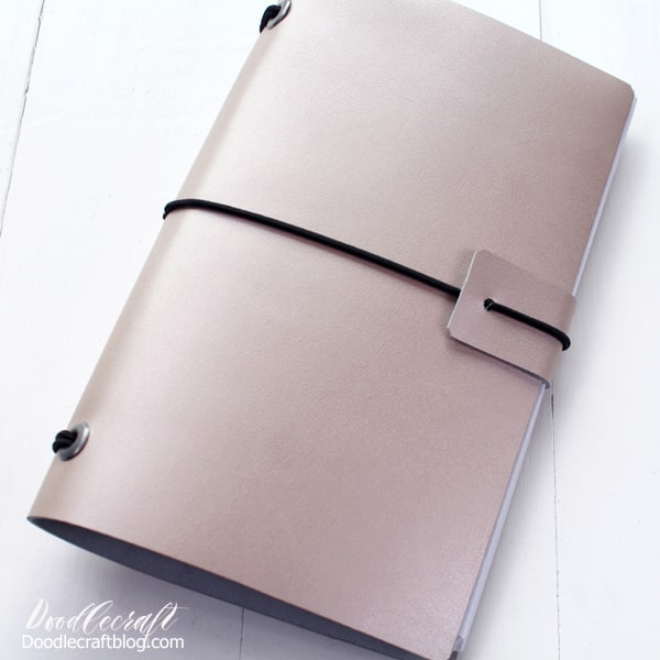 How to make a refillable leather journal made of rose gold Cricut metallic leather.