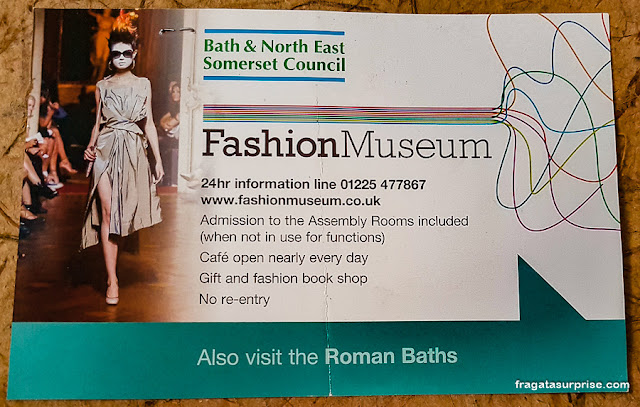 Ingresso para o Museu da Moda de Bath, Inglaterra