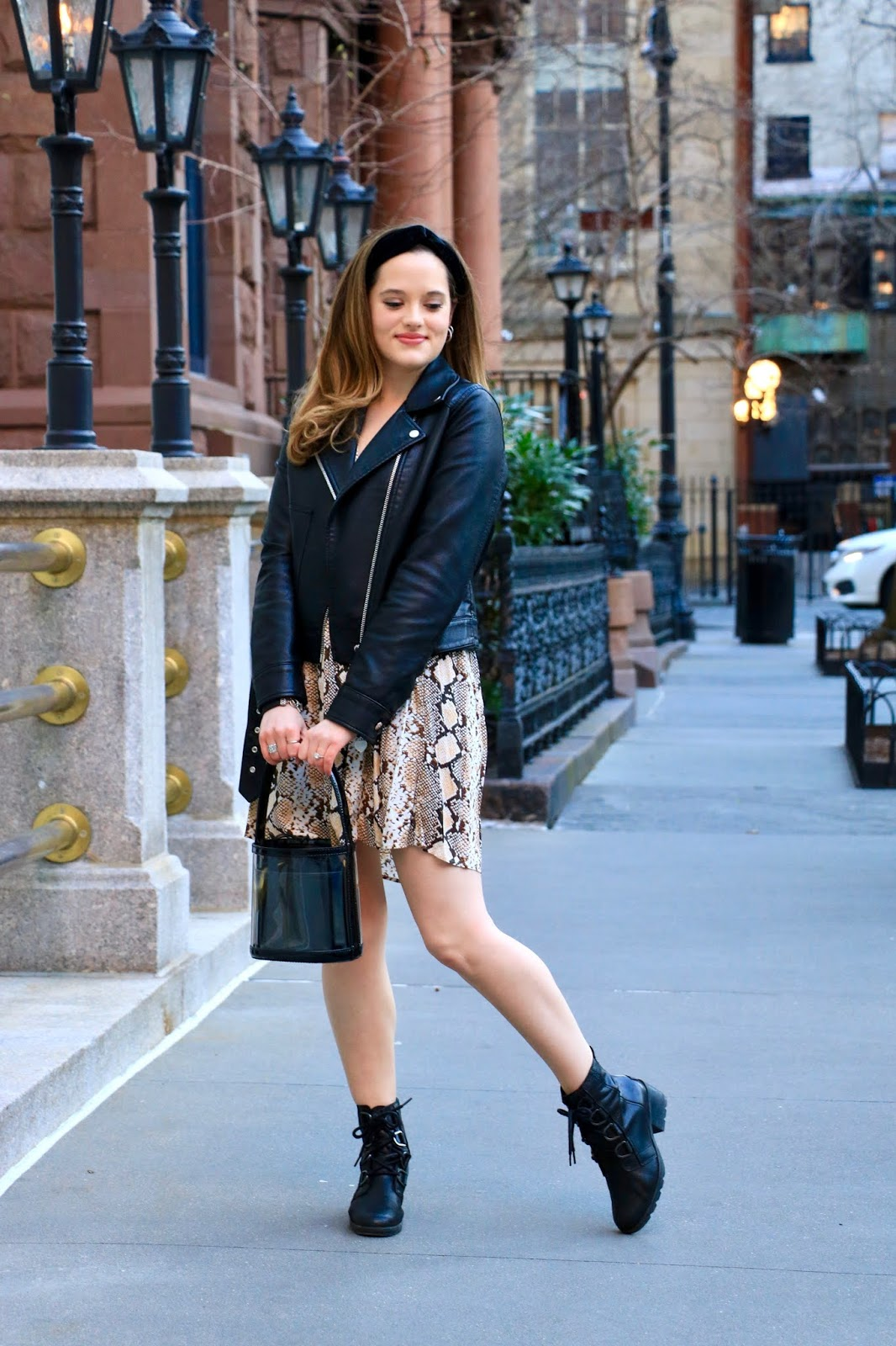 Nyc fashion blogger Kathleen Harper wearing a dress outfit with combat boots.