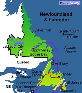 canada Map of Newfoundland NFL and Labrador