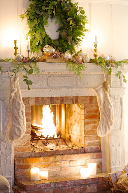 French Country Fridays- Christmas Fireplace