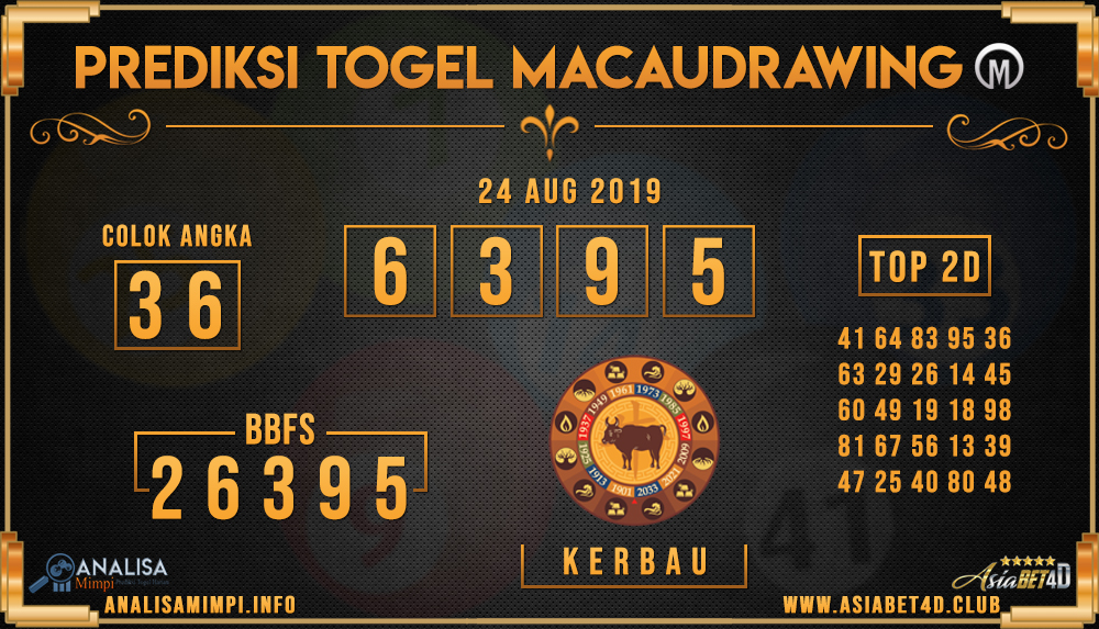 PREDIKSI TOGEL MACAU DRAWING ASIABET4D 24 AUG 2019