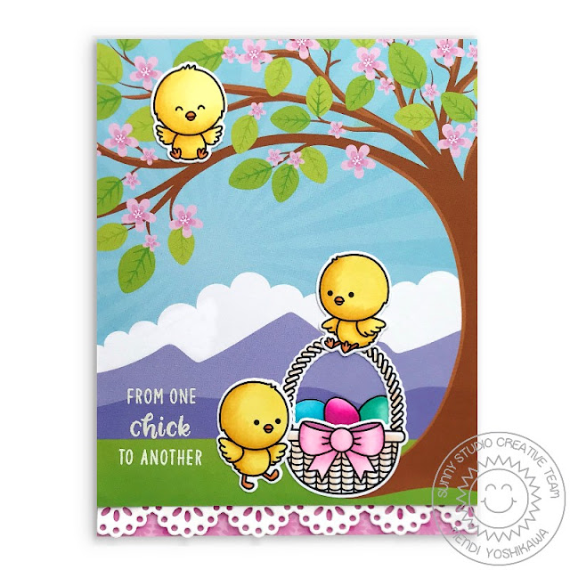 Sunny Studio Blog: Easter Chick with Cherry Blossom Tree Handmade Card (using Spring Fling Paper, Chickie Baby Stamps & Eyelet Lace Border Dies)