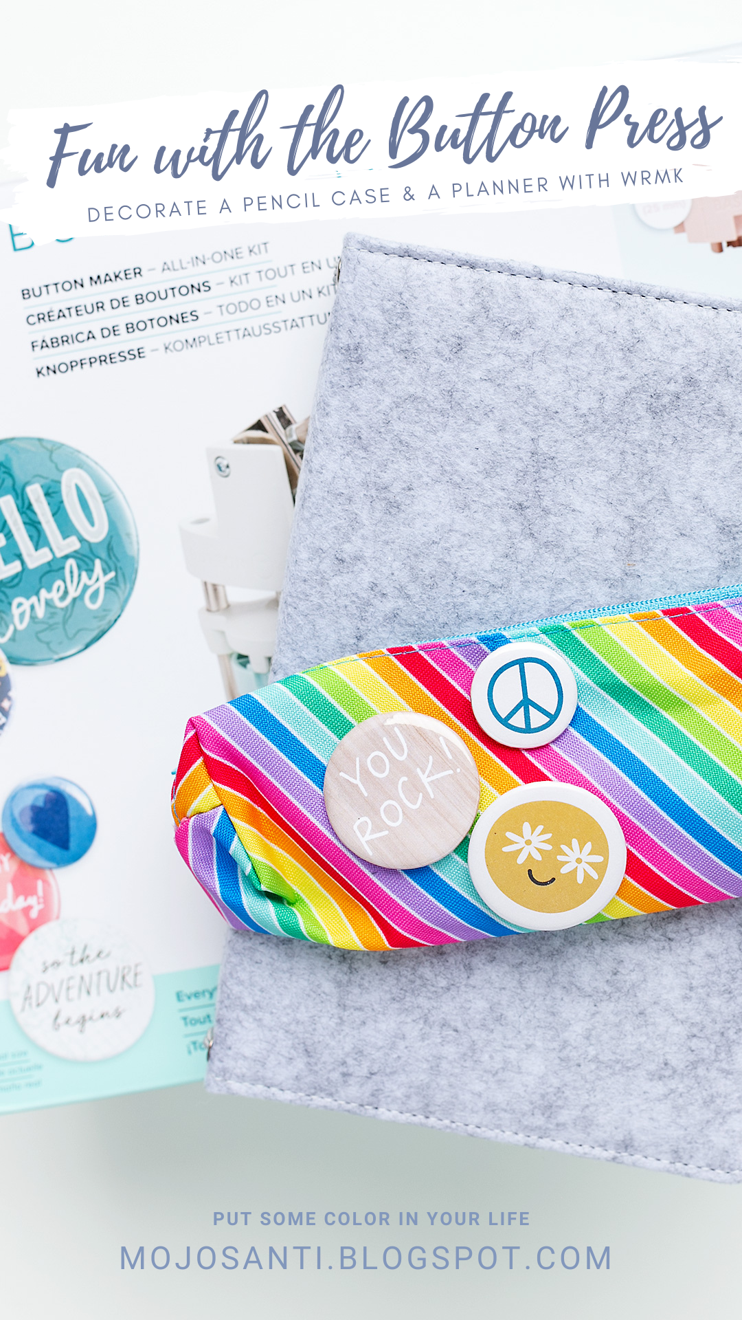 Pinterest Pin for projects with the Button Press by We R Memory Keepers colorful pencil case with flair buttons