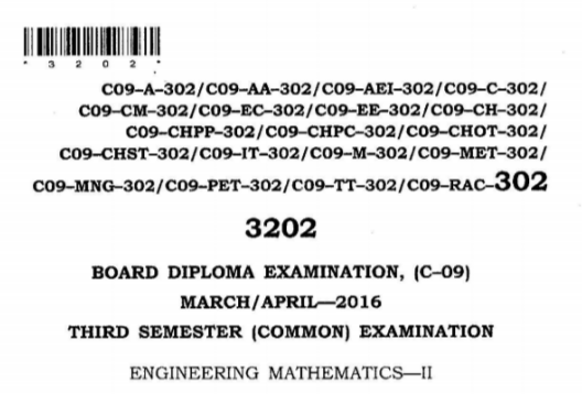 SBTET AP C09 COMMON ENGINEERING MATHEMATICS 2  PREVIOUS QUESTION PAPER