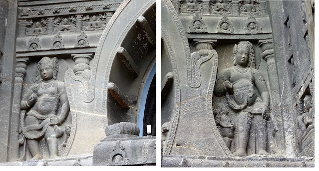 Guardian Figures on the left and right of front facade in Ajanta