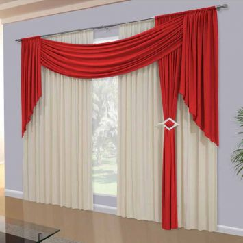 Primitive style red and white curtains