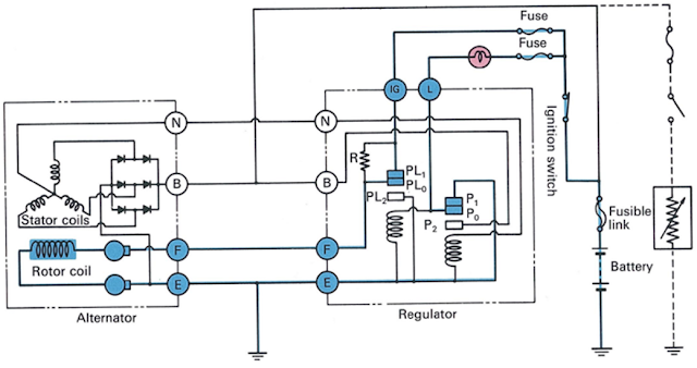 arah aliran arus sistem pengsian kunci kontak On mesin mati