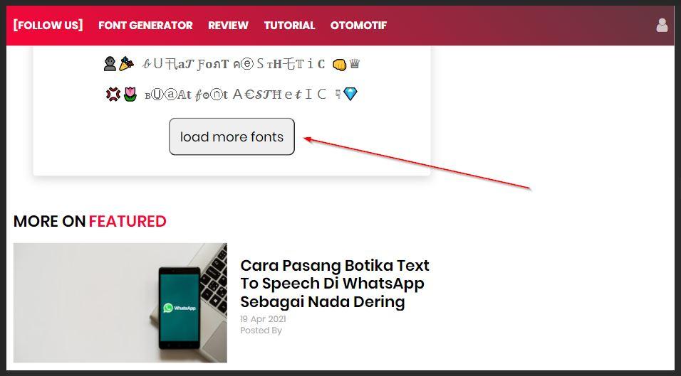 cara lihat font aesthetic lebih banyak