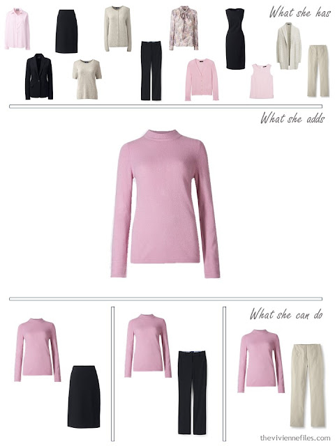 adding a pink sweater to a 4 by 4 Wardrobe