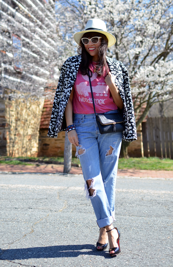 Denim with florals