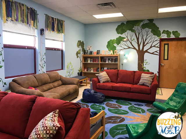Comfy seating and cozy decor in our reading garden.