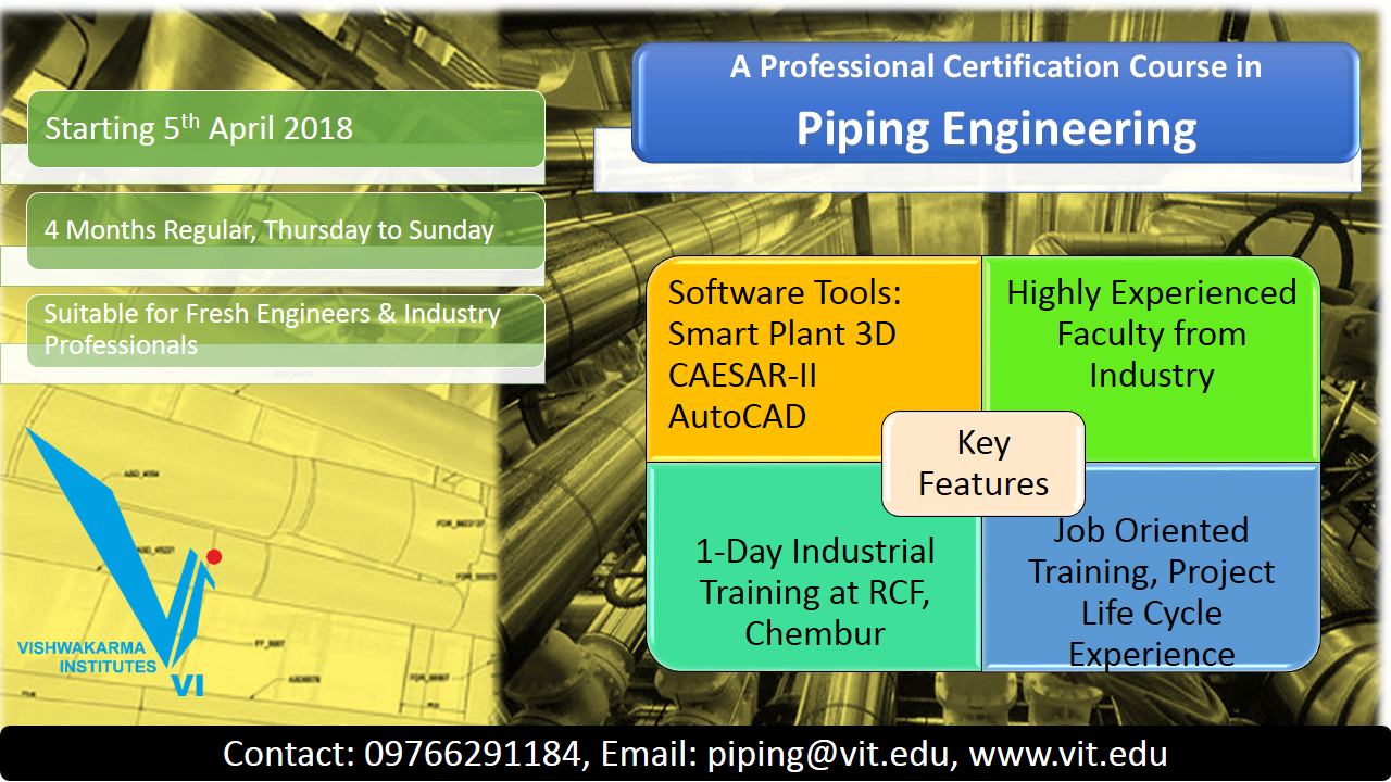 Announcing Piping Engineering Course At Vit Pune Layout Jobs