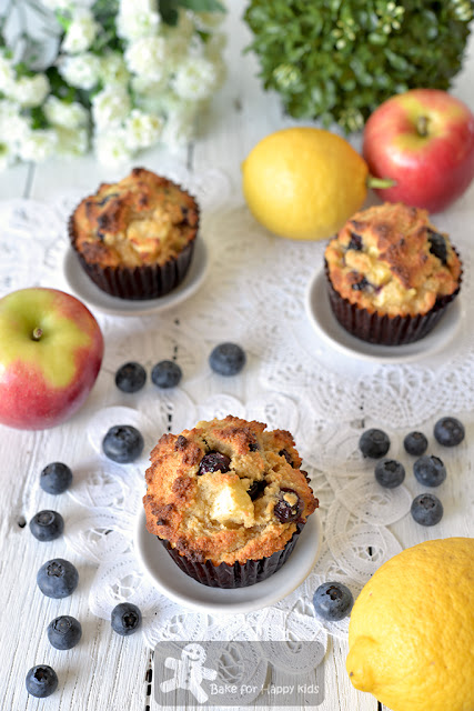 low sugar low fat gluten free almond blueberry apple muffins