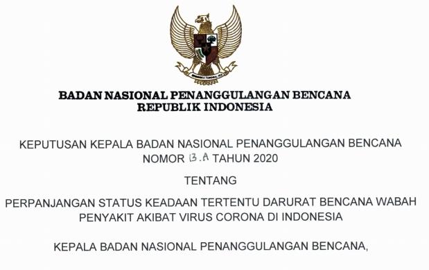 BNPB Menetapkan Keadaan Darurat Covid-19 Dari 14 Hari menjadi 91 Hari