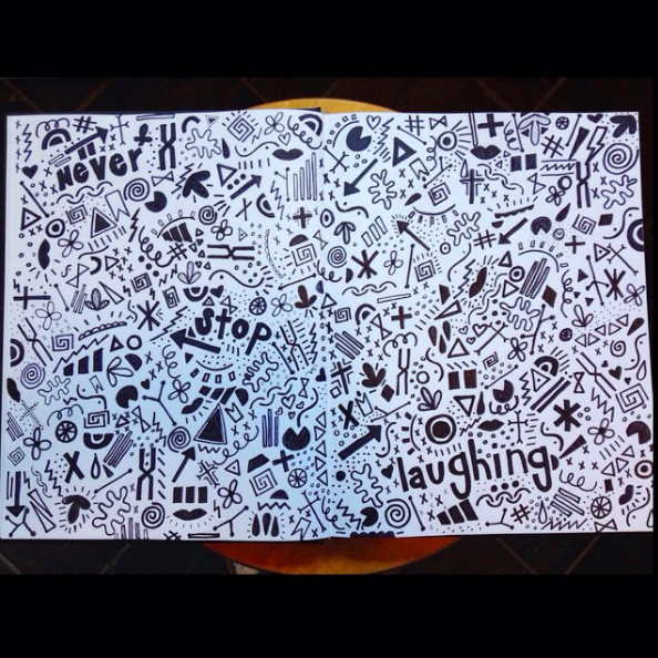 This sketchbook was from 2014 and I just drew random things to fill up the page with a sharpie  marker.