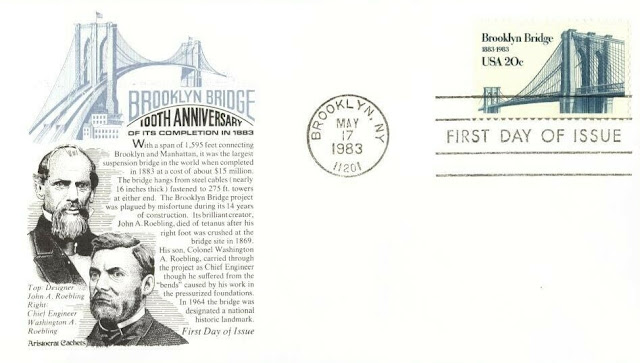John A. Roebling, German-American engineer, designed the Brooklyn Bridge USA FDC