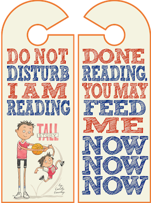 Tall Story Do Not Disturb I am Reading door hangers. Illustration by Sarah McIntyre. Designed by Candy Gourlay